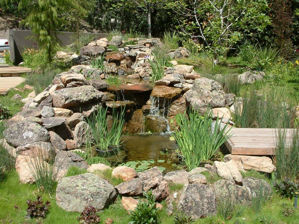 Rock and Boulder Waterfall and Pond